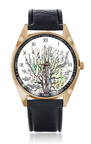 Armbanduhr, Motiv: Notenbaum, Herbstschlüssel, Baum, Whirlpool, natürliche Illustration, personalisierbar, für Herren und Damen, wasserdicht, Edelstahl, Quarz-Armbanduhr mit austauschbarem Lederband