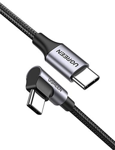 UGREEN USB C auf USB C Kabel 60W Winkelstecker 90 Grad Power Delivery USB C zu USB C Kabel 3A/20V kompatibel mit Galaxy S21, S20, A71, Note20, Mi 10T, iPad Air 2020, iPad Pro 2020, XPS 13 usw. (1m)