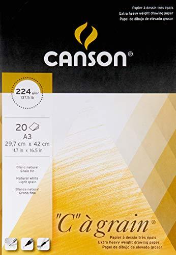 Canson Arts graphiques C à Grain 200027185 Papier à dessin A3 29,7 x 42 cm 20 feuilles Blanc naturel