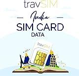 travSIM - Tarjeta SIM Prepaga India (SIM de Datos para India) - 1GB de Datos Móviles para Usar en India Válido por 30 Días - la Tarjeta SIM de Datos India Funciona en Más de 50 Países