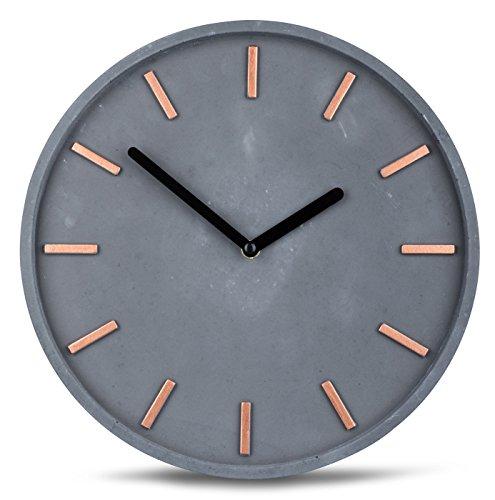 levandeo Hochwertige Beton-Uhr Wanduhr in Grau Kupfer 30cm rund Moderne Wanddeko Designer Uhr