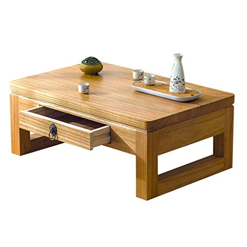 Coffee Tables Study Desk Tea Table Low Table Balcony Tea Table Living Room Sofa Table Bedroom Bay Window Table with Drawer Wooden Tatami Table Writing Desk (Color : Brown, Size : 704530cm)