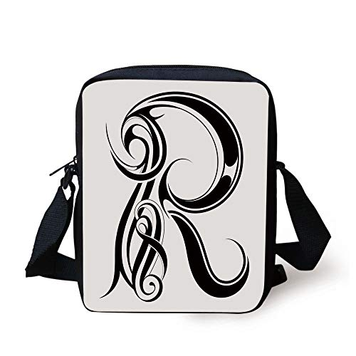 Letter R,Gothic Medieval Inspired Alphabet Font Capital R Calligraphic Design Illustration,Black White Print Kids Crossbody Messenger Bag Purse