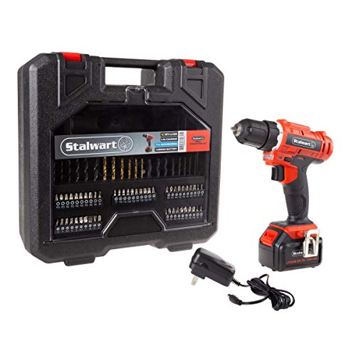 Stalwart 20V Cordless Drill with Rechargeable Lithium Ion Battery and 71 Piece Accessory Set - Portable Power Tool with Bits, Drivers and Belt Clip