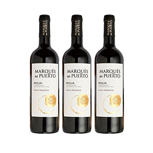 Vino Tinto Marques del Puerto Gran Reserva de 75 cl - D.O. Rioja - Bardinet (Pack de 3 botellas)