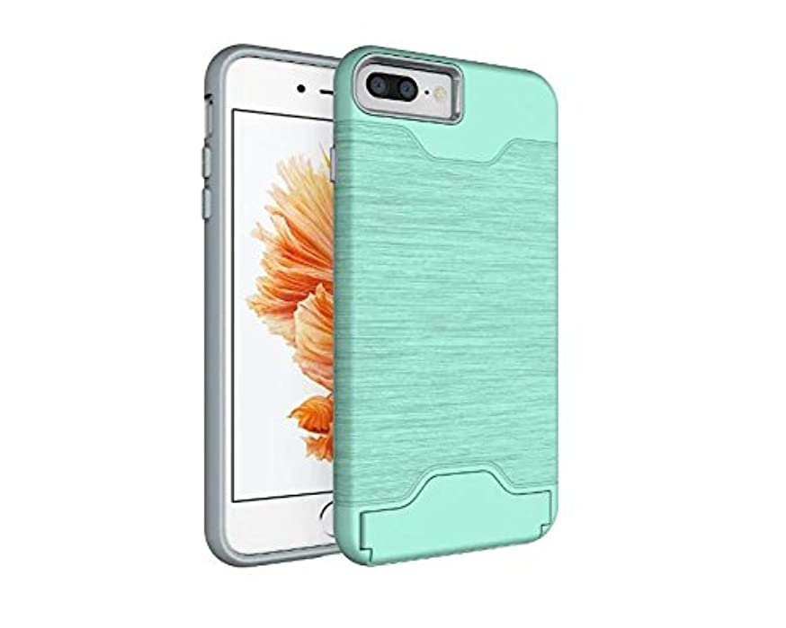 iPhone 8 Plus Case,iPhone 7 Plus Case Wallet with Debit Card Holder,Gostyle [Kickstand Feature] Dual Layer Brushed Texture Hard PC Cover + Soft TPU Slicone Rubber Shockproof Case(Light Green)