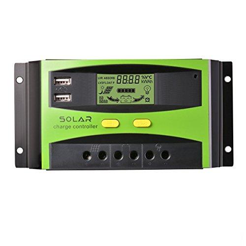 Controlador de carga solar , 30A 12V/24V PWM regulador de cargador solar, 2 pantallas de puerto de USB,