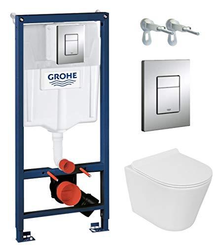 Grohe Vorwandelement inkl. Drückerplatte chrom + Lavita Wand WC Galve ohne Spülrand + WC-Sitz mit Soft-Close-Absenkautomatik + Wand-Halter-Set