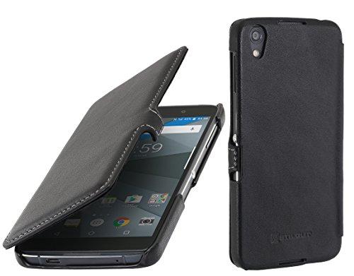 StilGut Book Type Case mit Clip, Hülle Leder-Tasche für BlackBerry DTEK 50. Seitlich klappbares Flip-Case aus Echtleder für das Original BlackBerry DTEK50, Schwarz Nappa