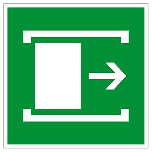 Fluchtwegschild aus Aluminium, Lang nachleuchtend - Fluchtweg Tür schieben - 25 x 25 cm