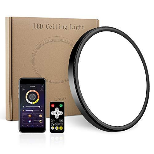 LED Flush Mount Ceiling Light,Smart app Control,12inch High Bright 3100lm,Super Slim Ceiling Light,Color Adjustable,Dimmable Ceiling Ceiling Light for Bedroom,Living Room,Dining Room(Black, One Pack)