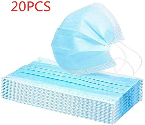 20PCS / 50PCS / 100PCS Maschere monouso con occhielli bianchi/blu, 3 strati di maschera antipolvere, abbastanza scorte
