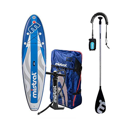 MISTRAL Unisex-Adult Inflatable Adventure 10.5 Combo Deal + Paddle + Leashline, Blau