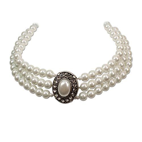 Heimatflüstern Trachtenkette Perlen 3-reihig - Damen Dirndlkette, Perlenkette mit Strass-Steinen für Trachtenbluse und Lederhose, Kropfkette fürs Oktoberfest Dirndl-Schmuck (Creme-weiß)