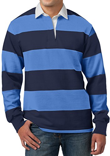 Mens Long Sleeve Rugby Polo Shirt, XL True Navy/Carolina Blue