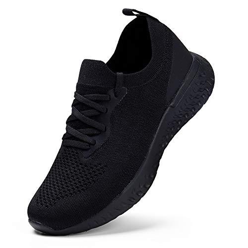 YKH Damen Sneaker Schuhe Atmungsaktiv Bequeme Reiseschuhe Leichte Tennis Laufschuhe Laufschuhe Schwarz EU 39