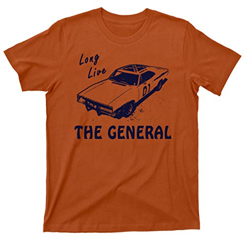 Long Live The General T Shirt 1969 Charger Dukes of Hazzard Tee (Large, Texas Orange)