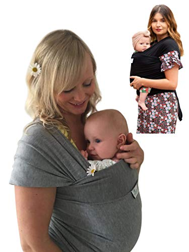DaisyGro Luxury Baby Wrap Carrier, 2 Size Options, Stretchy Cotton, Grey or Black