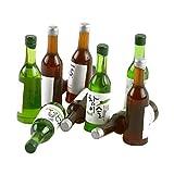 P Prettyia 10x Miniatur Geschirr Flaschen Bierflaschen Behälter Modell für 1:12 Puppenhaus...