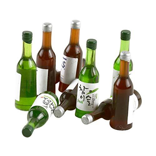P Prettyia 10x Miniatur Geschirr Flaschen Bierflaschen Behälter Modell für 1:12 Puppenhaus Esszimmer Esstisch Dekoration