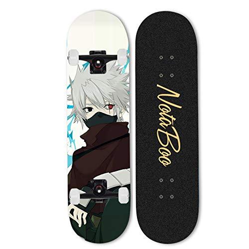 Ayyayy Siguiente: Hatake Kakashi Skateboard, Patineta completa, 31 pulgadas para principiantes niño adulto scooter de cuatro ruedas, Patineta profesional para adultos