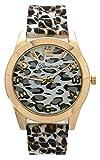 Geneva Leopard Print Silicone Band Watch (White)