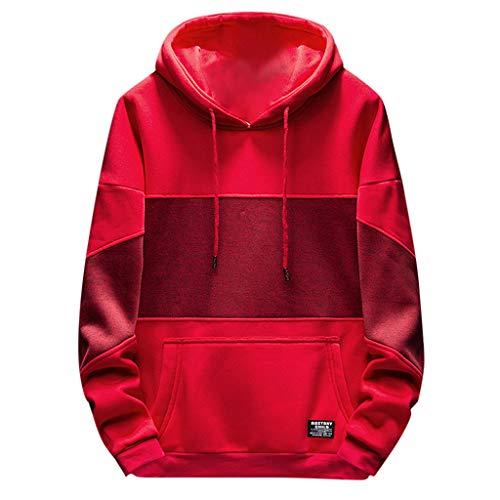 UJUNAOR Herren Frühling Patchwork Sweatshirt Mode Langärmelige Pullover mit Kapuze(Rot,CN 3XL)