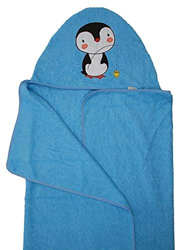 Ti TIN - Capa de Baño de Bebé Bordada con Capucha de Diseño Exclusivo Pingüino | Toalla de Bebé con Capucha Suave y Absorbente, Colores Sólidos