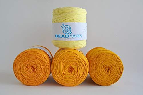Textilgarn Baumwollegarn Stoffgarn Zitronengelb 650g, 120m für Taschen, Körbe, Utensilo, Teppiche (zitronengelb)