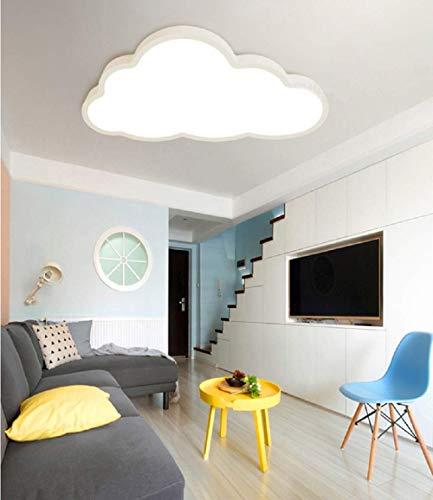 LED Deckenleuchte Kinderzimmer Jungen Mädchen Schlafzimmer ultradünne 5cm kreative Wolken (Weißer Rand(50 * 28cm)36W, Warmes Licht)