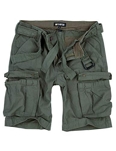riverso Herren Cargo Shorts RIVFynn Kurze Hose Vintage Bermuda Gürtel 100% Baumwolle S - 7XL, Größe:XL, Farbe:Olive (61)