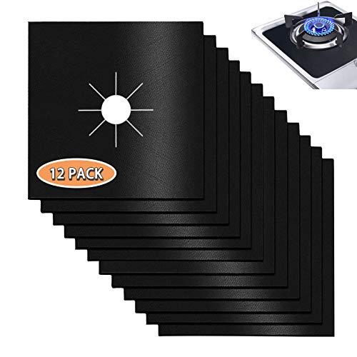 Moyisea - Juego de 12 cubiertas para quemadores de estufa de gas de doble grosor mejorado, protector de rango de gas resistente al calor para cocina de gas, 26 x 25 cm, reutilizable, apto para lavavajillas, color negro