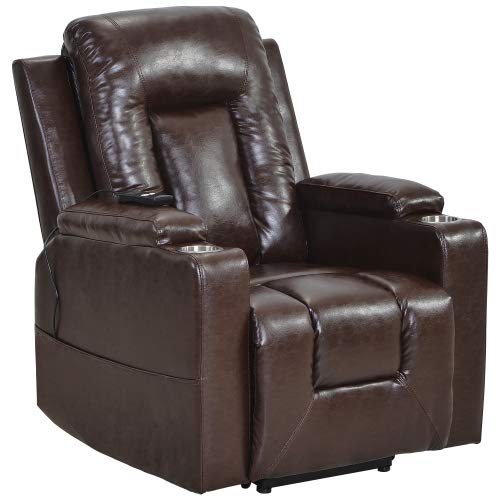 Firstshop Electric Power Lift Recliner Chair Sofa for Elderly,Leather Recliner Armchair with Side Pocket and Cup Holders, Functional Remote Control for Living Room,Bed Room,Study Room (Brown)