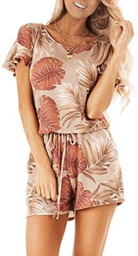 Tuinbroek voor dames zomer lang casual modern elegant korte mouwen jumpsuit bedrukt met bloemenpatroon Vhals met zakken voor de zomer strand casual licht