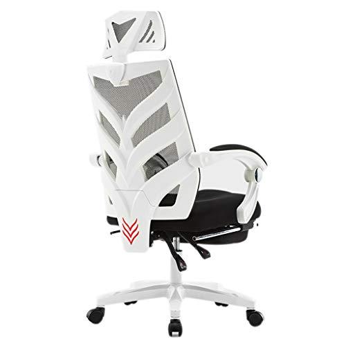 Pliantes Chaise Chaise D'ordinateur Chaise De Bureau Ergonomique Siège À La Maison Inclinable Chaise Pivotante Chaise De Sport De Jeu Cadeau (Color : Blanc, Size : 111 * 64cm)