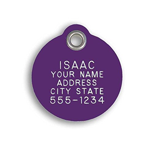LuckyPet Pet ID Tag - Large Round Purple Plastic Tag - Durable, Easy to Read, Custom Engraved for Dogs & Cats. Reflective Coating on Back.