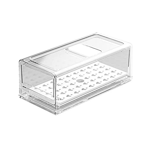 Haowen Frigorifero Conservazione Fresca Congelatore Cassetto Durevole Scatola portaoggetti da Cucina Trasparente + Scolapiatti 30 * 14,6 * 11,5 cm