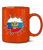 Golebros Russland ?????? Russia Fan Artikel 5779 Fuss Ball Europa World Cup EM 2020 WM 2022 Kaffee Tasse Becher Geschenk Ideen Fahne Flagge Rot
