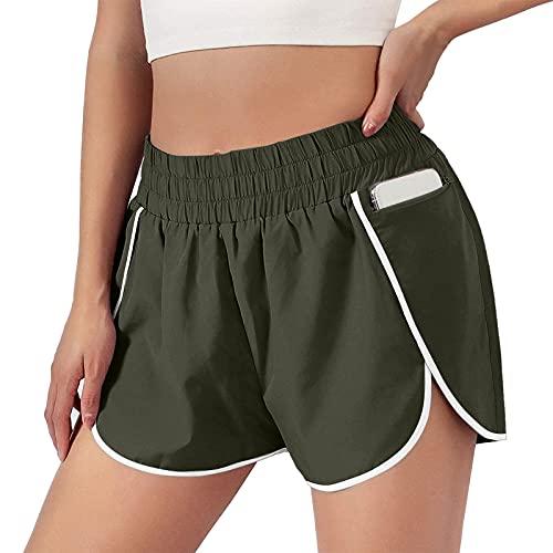 N /C Pantalones cortos deportivos para mujer, de verano, de cintura alta, pantalones cortos de yoga con bolsillo
