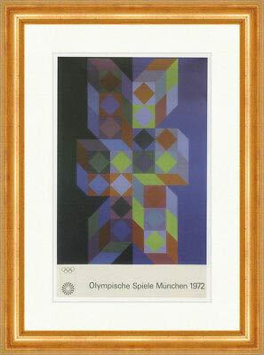Kunstdruck Olympische Spiele München 1972 Poster Vasarely Plakatwelt 675 Gerahmt