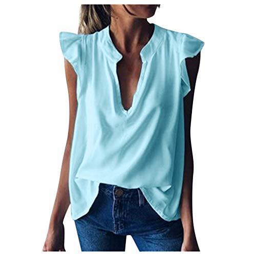 TOPSELD Bluse Damen Oberteile Elegant Ärmellos Blusen Shirt Crop Tops für Damen Sommer(Light Blau,XXL)