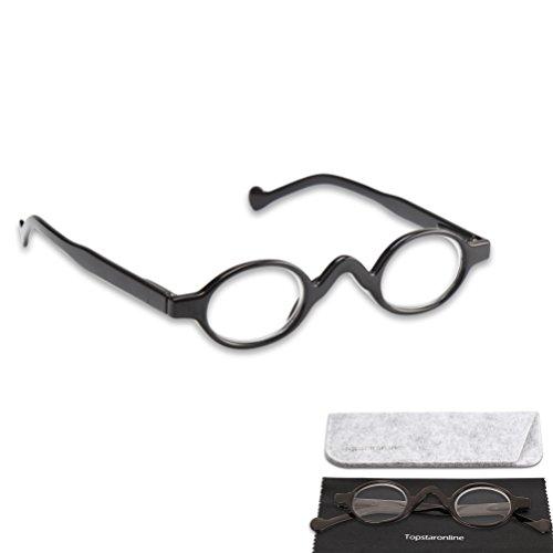 TOPSTARONLINE Lesebrille mit kleinen runden Gläsern von + 1,00 bis + 3,50 Dioptrien (Schwarz, 1.50)