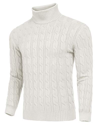 JINIDU Men's Slim Fit Turtleneck Sweater Casual Twisted Knitted Pullover Sweaters (White, Small)