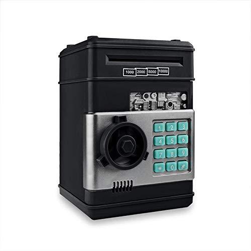 LYD Hucha electrónica de cerdito caja de seguridad para niños monedas digitales ahorro de dinero en efectivo caja fuerte depósito mini cajero automático máquina niño regalos de Navidad negro