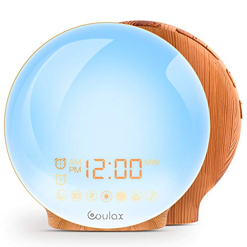 [Upgraded Version] Coulax Wake Up Light Wooden Alarm Clock for Adults and Children, 2 Alarm Time Options, 7 Natural Sounds and FM Radio, Snooze