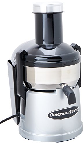 Omega BMJ330 Mega Mouth Juicer with Extra Large Feed Chute for Larger Portions of Fruits and Vegetables Ejection with Pulp Catch Bucket, 375W, Silver