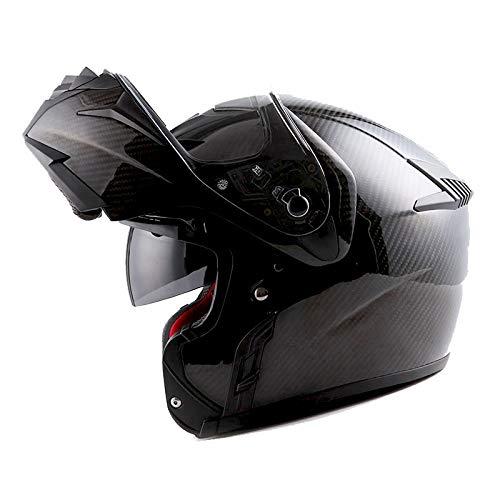 MARS Genuine Real Carbon Fiber Motorcycle Modular Flip up Full Face Helmet Black (3.5 lb), DOT Approved