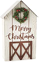 Esoteric Maven Merry Christmas Whitewashed Barn Tabletop Decor | Farmhouse Chic, Country Christmas Tabletop Accent | Chris...