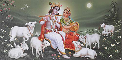 BCTS Radha Krishna Divine Cows Poster Exclusive Art Paper Home Decor Art Wall Decor Metal Sign 8X12 inch
