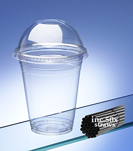 AIOS Avenue Smoothie Cups met koepeldeksels en rietjes. 400 ml/14 oz. 50 stuks. Smoothies, ijsdranken, sappen, koffie, milkshakes rietjes met 7.5mm boring - ideaal voor dikke smoothies en milkshakes.